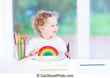 regenboog, windo, meisje, groot, volgende, het glimlachen, toddler, tekening, vrolijke
