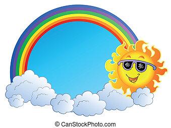 regenboog, wolken, zon