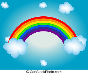 regenboog, zon, illustratie, vector, achtergrond, wolk