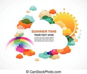 regenboog, zon, kleurrijke, abstract, wolken, vector, achtergrond