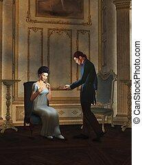 Regency Couple in Candlelit Room - Illustration of a regency...