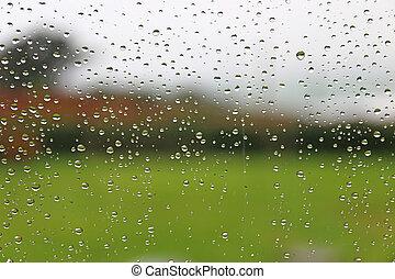 regendruppels, venster glaswaar