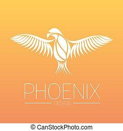 regeneration., large, vecteur, eps10, phénix, brûler, symbole, flamboyant, illustration, ailes, réincarné, arrière-plan., couleurs, diffusion, orange, oiseau blanc