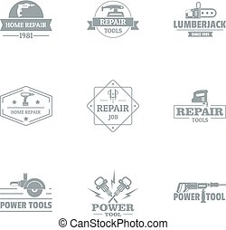 Regenerative work logo set, simple style - Regenerative work...