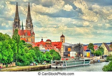 regensburg, rivière, vue, allemagne, danube