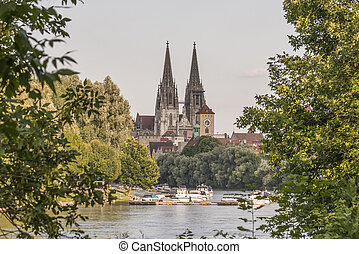 Regensburg with the yacht harbor at the danube river and view to dom st. peter
