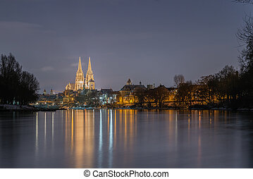 Regensburg with the yacht harbor at the danube river and view to st. peter cathedral