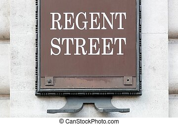 Regent street sign on a wall in London, United Kingdom