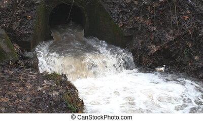 regenwasser, nach, flüßchen, bach