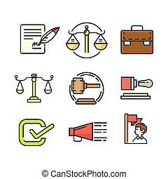 regering, pictogram, set, kleur
