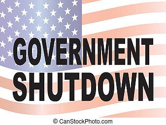 regering, stopzetting, tekst, met, ons vlag, illustratie