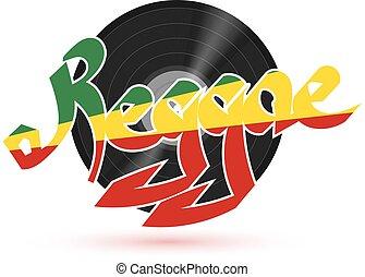 reggae, 単語, illustration., プレート, プラスチック, レコード, ベクトル, 背景, ミュージカル, 白, music., shadow., 株