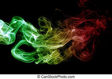 reggae, 煙, 抽象的, 色, カーブ, 波, 旗, 黄色, 音楽, 背景, 緑, 赤, 有色人種