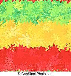 reggae, colorito, giamaica, pattern., foglie, africa, ...