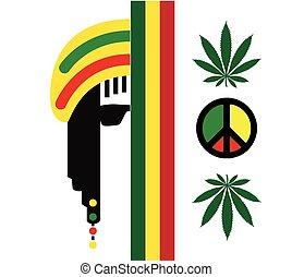 reggae, cultura, conceito, desenho
