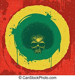 reggae, grafico, cranio, design.