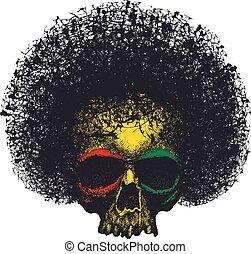reggae, graphique, crâne, design.