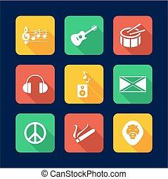 Reggae Icons Flat Design