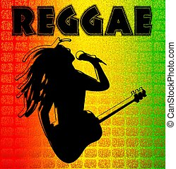 reggae, illuustration, fundo