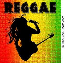 reggae, illuustration, hintergrund
