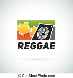 Reggae music equalizer sound logo emblem vector design. Positive dub illustration