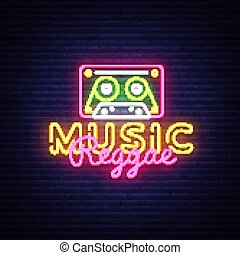 Reggae Music neon sign vector. Reggae Design template neon sign, summer light banner, neon signboard, nightly bright advertising, light inscription. Vector Illustration
