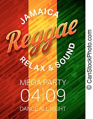 Reggae music party poster template. Rasta dance club flyer concept. Vector illustration.