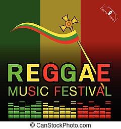 reggae, musik, festival, affisch