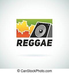 reggae, musik, stabilisator, klingen, logo, emblem, vektor,...