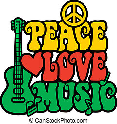 Retro-style design of Peace, Love and Music with peace symbol, heart, musical notes and guitar in Reggae colors. Type style is my own design.