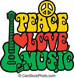 Reggae Peace Love Music - Retro-style design of Peace, Love...