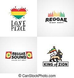 reggae, rastafari, セット, 愛, illustration., judah, flag., ...