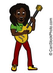 reggae, s�nger, und, gitarrist