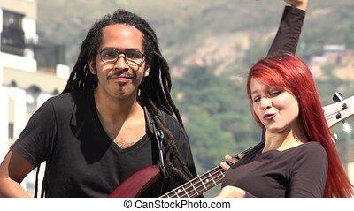 Reggea Guitarist And Dancer