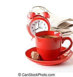 reggel, coffee.