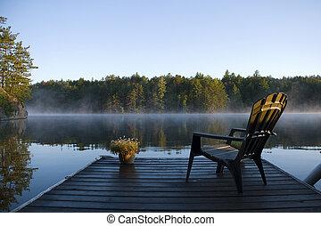 reggel, köd, képben látható, a, öböl