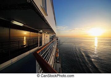 reggel, kilátás, alapján, fedélzet, közül, cirkálás, ship., napnyugta, alatt, water.