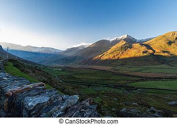 reggel, nant, árnyék, goch, snow., hágó, hegyek, fény, korán...