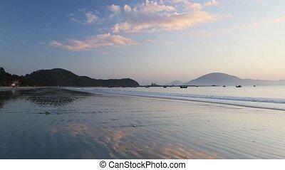 reggel, tenger, színes, felett, hajnalodik