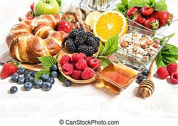 reggeli asztal, beállítás, noha, kiflik, muesli, friss,...