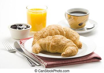 reggeli, finom, kontinentális, kiflik, kávécserje