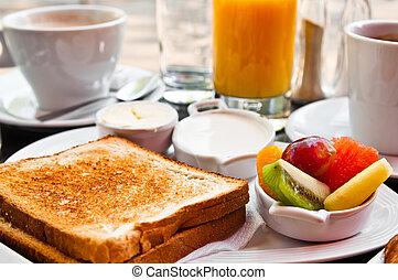 reggeli, noha, narancslé, és, friss gyümölcs, képben látható, asztal
