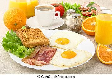 reggeli, szalonna, zsíros, csésze, egészséges, kávécserje, ikra