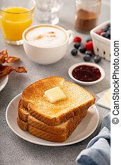 reggeli, tószt, kontinentális, hagyományos