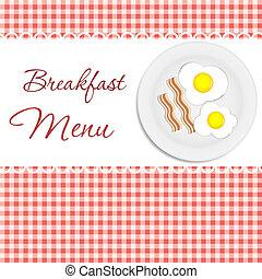 reggeli, vektor, étrend, ábra