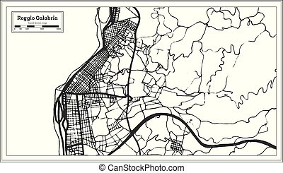 Reggio Calabria Italy City Map in Retro Style. Outline Map....