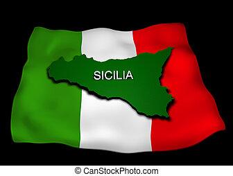 região, bandeira, sicília, italiano