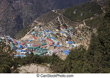 região, bazar, namche, nepal, everest