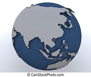 región, este, actuación, globo, asia