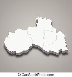 región, mapa, checo, isométrico, 3d, república, liberec
